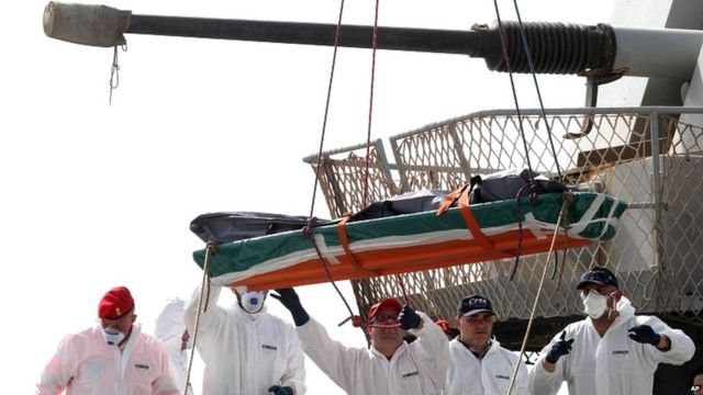 One of the 45 bodies of migrants that were recovered by the Italian military ship Vega during its search and rescue mission