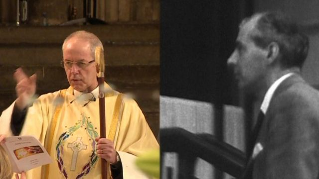 Justin Welby (left) and Sir Anthony Montague Browne