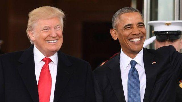 美国第44任总统奥巴马和即将就任的第45任总统特朗普