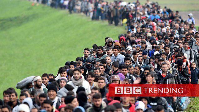 Long line of migrants crossing into Slovenia