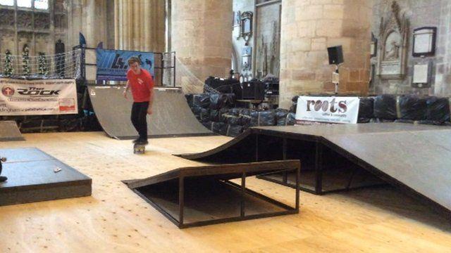 Skateboarding inside Gloucester Cathedral