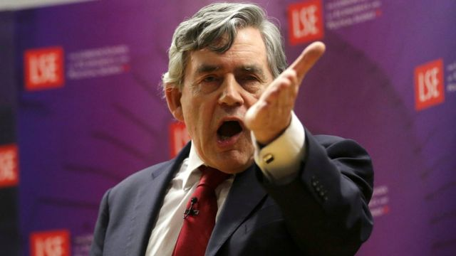 Former British Prime Minister Gordon Brown delivers a speech at the London School of Economics