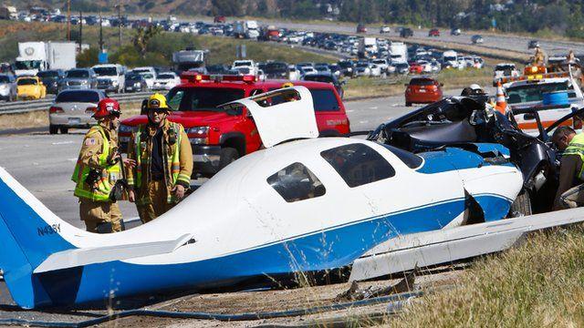Crashed plane on freeway