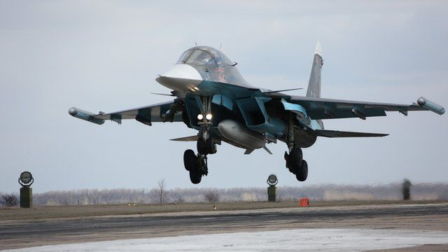 Russian Su-34 bomber lands after returning from Syria.