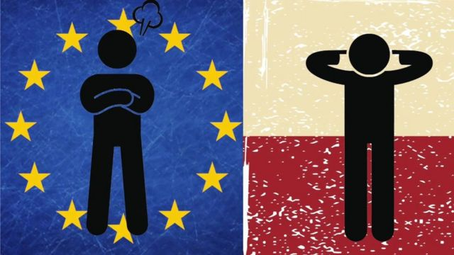 Stick figures in front of European flag and