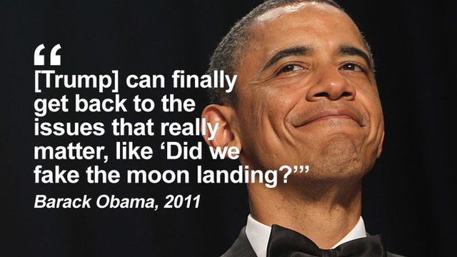 """Getty Images Obama: """"Trump can finally get back to the issues that really matter, like """"Did we fake the moon landing""""?"""