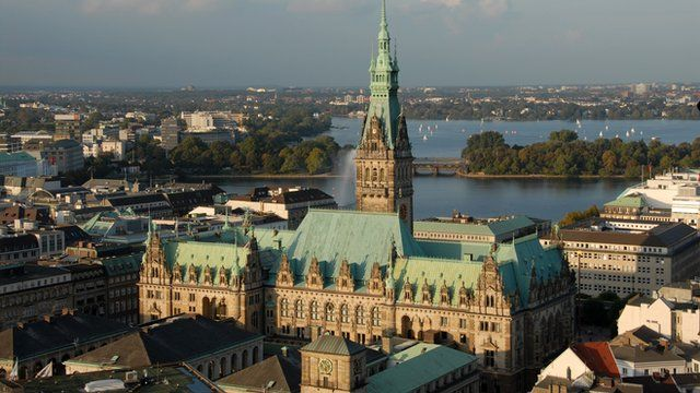High view of Hamburg's city hall