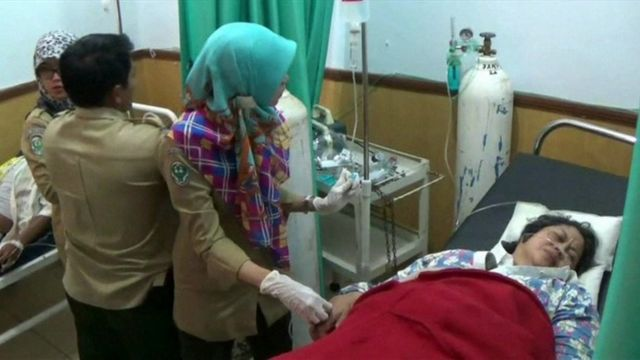 A woman in hospital in Indonesia