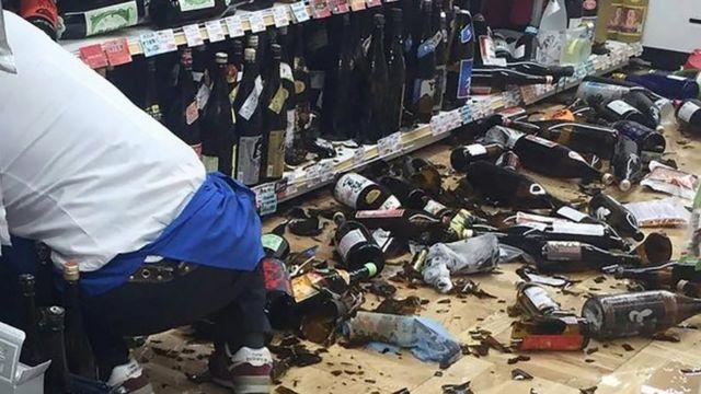 Broken bottles.