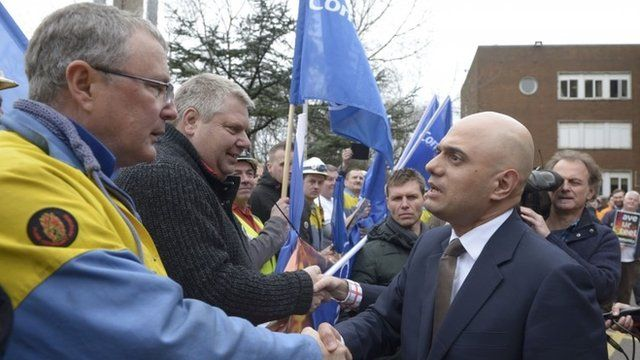 Sajid Javid meeting steel workers at Port Talbot