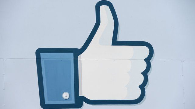 A thumbs up or 'Like' icon at the Facebook main campus in Menlo Park, California
