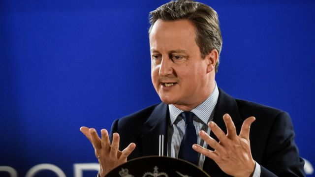 David Cameron delivers a speech during an European Union summit