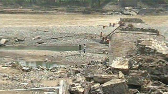 Collapsed bridge in Henan province