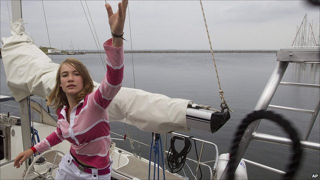 Laura Dekker on her boat in the Netherlands