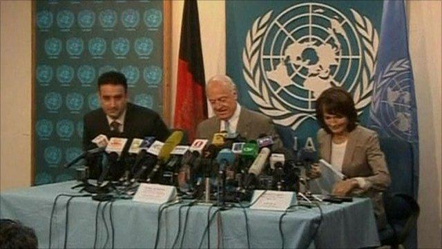 UN representatives announcing report findings