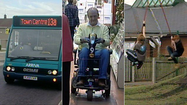 Bus service, shopmobility and playground