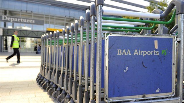 Luggage trolleys at airport
