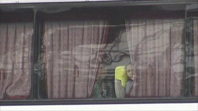 Woman looking out of hijacked bus