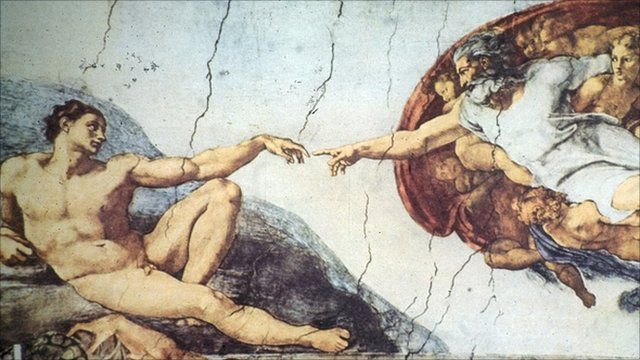 Part of the The Creation of Adam on Michelangelo's Sistine Chapel ceiling