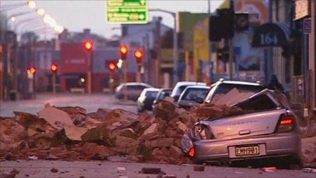 A car under rubble in Christchurch