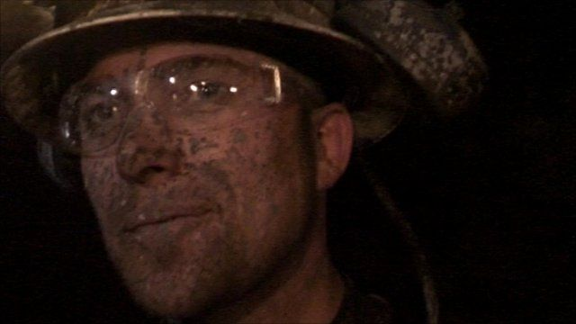 Uranium miner down a mine