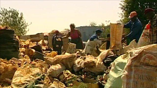People sorting rubbish