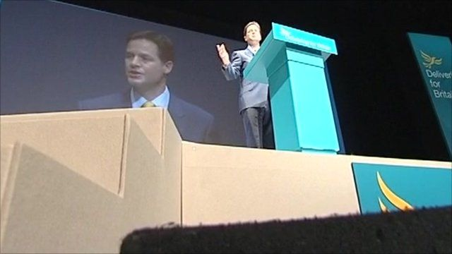 Nick Clegg on stage at conference