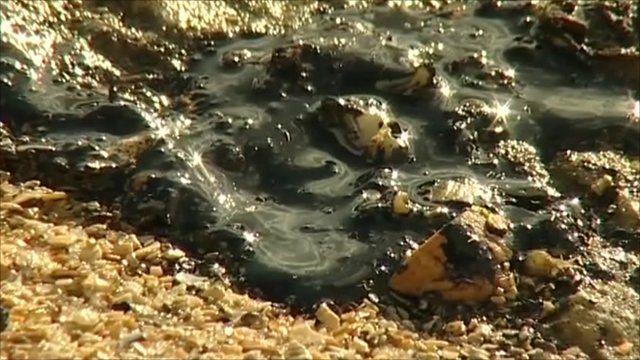 Oil slick on Essex coast