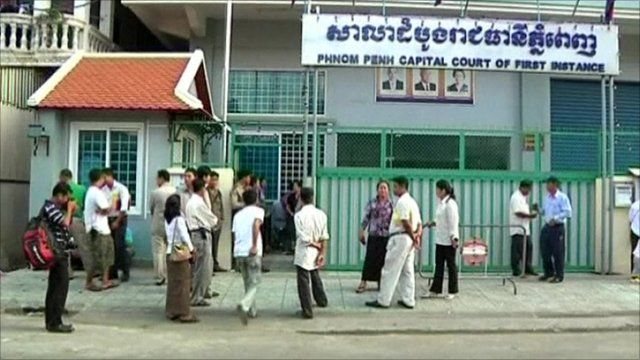 Outside the court in Phnom Penh