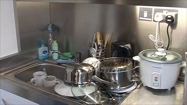 Kitchen in student accommodation