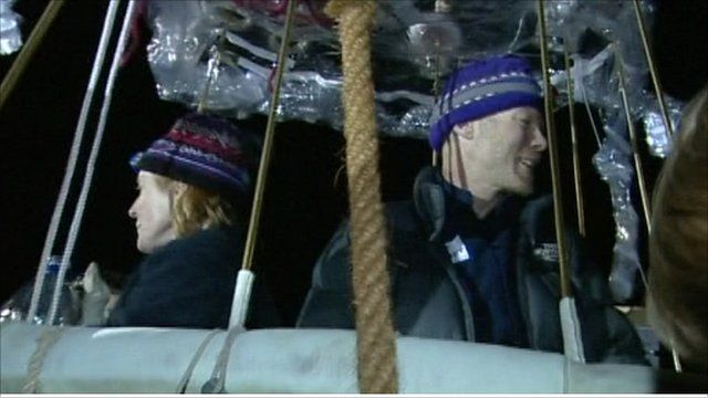 Carol Rymer Davis and Richard Abruzzo in their balloon