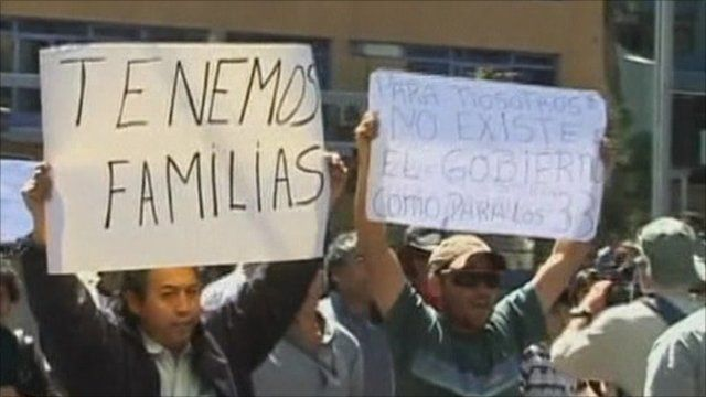 Chilean miners protest