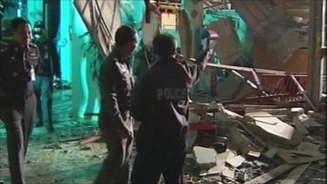 Police at the scene of the blast