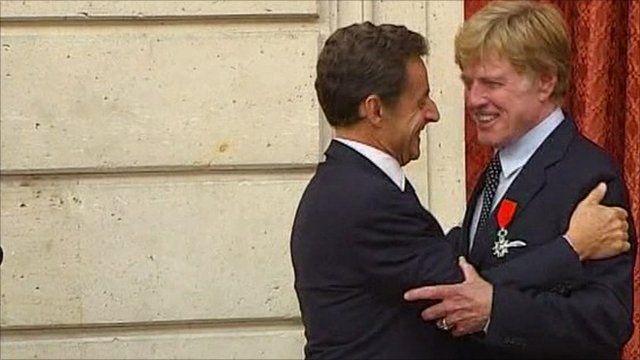 Nicolas Sarkozy and Robert Redford