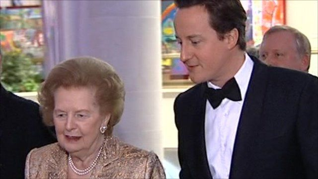 Baroness Thatcher and Prime Minister David Cameron