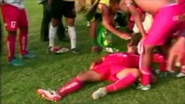 Fainted Peruvian player