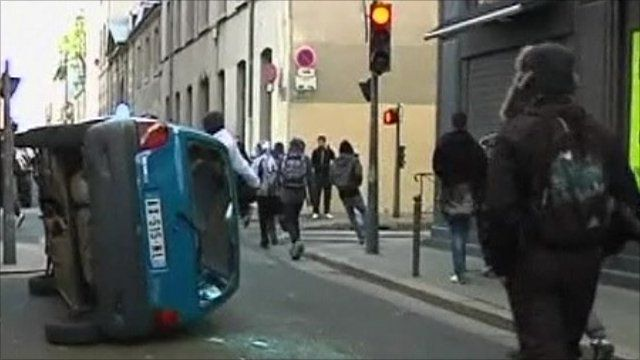 Overturned car in Lyon