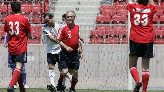 President Sebastian Pinera and other players
