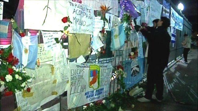 Tributes left for former Argentinian president Nestor Kirchner