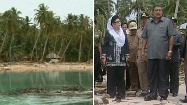President tours tsunami-hit islands