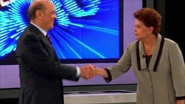 Candidates Dilma Rousseff and Jose Serra