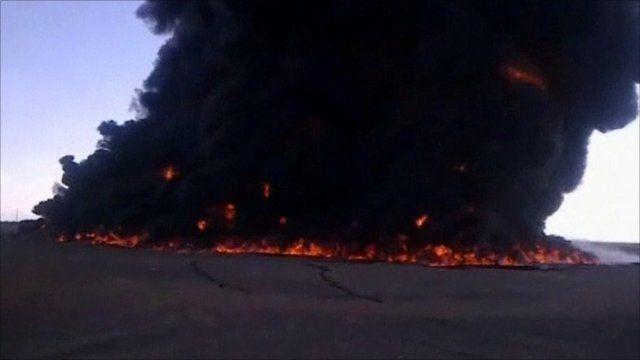 Oil pipeline fire