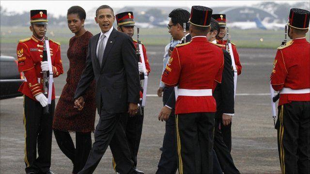 Michelle and Barack Obama in Jakarta