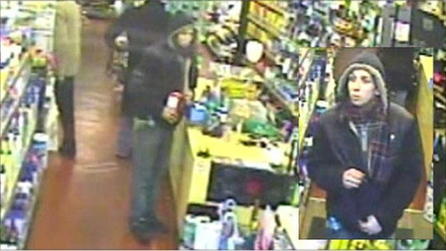 CCTV stills showing the thief stealing the collection tin
