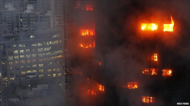 Flames coming out of tower block windows