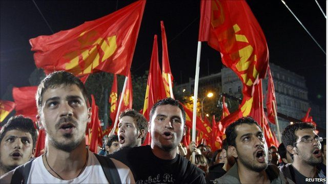 Supporters of the Greek Communist Party protesting over budget cuts