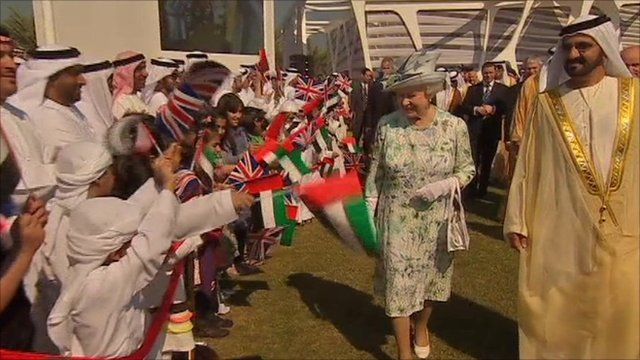 The Queen with children and Abu Dhabi's Crown Prince Sheikh Mohammed bin Zayed.