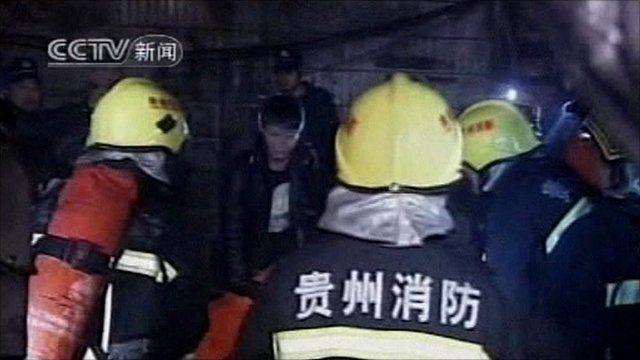 Fire crews at blast scene