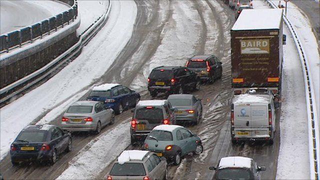 Traffic jams due to snow fall