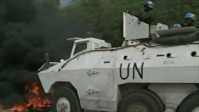 UN tank in Haiti